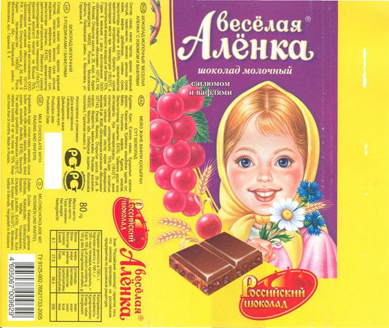 Обертка на шоколад аленка
